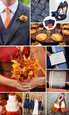 Modern Wedding Color Palettes We Love - Modern Wedding Colors - TheKnot.com Papaya + Navy + Gunmetal
