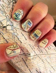 Map theme nail art