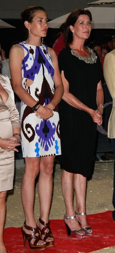 Charlotte Casiraghi and her mother Princess Caroline of Monaco.  Charlotte and the young Caroline could have been twins they look sooo much alike.