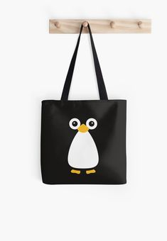 'Cute Vector Penguin' Tote Bag by ChunkyDesign Coin Purse Tutorial, Zipper Pouch Tutorial, Tote Tutorial, Tote Pattern, Bag Patterns To Sew, Sewing Patterns, Painted Canvas Bags, Canvas Tote Bags, Fabric Bags