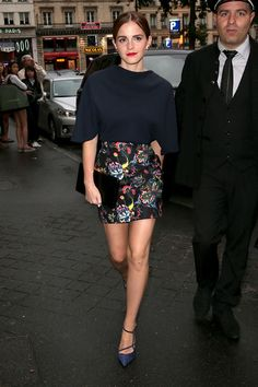 Emma Watson in a Dior top and skirt