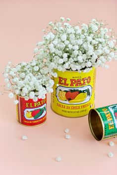 This listing is for 6 LARGE El Pato cans (quantity of 1 = 6 cans) Everyone loves to use EL PATO metal cans for decorating a party because they are made of real tin... it has no paper label, rather, the design is painted right on the can! El Pato cans they make great table