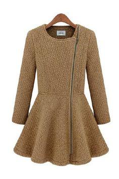 Brown Shearling Peplum Zip Up Coat Cardigan Jacket Lapel Collar Dress | Goodnight Macaroon