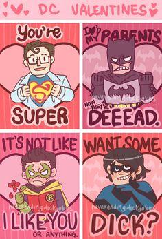 DC Valentines for friends. #Superman #Batman