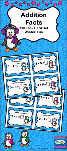 Addition Facts - Set of 110 math task cards featuring cute winter penguins ($)