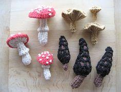Crocheted Mushrooms.