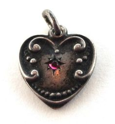 Antique Sterling Silver Repousse Cabochon Puffy Heart Charm | eBay