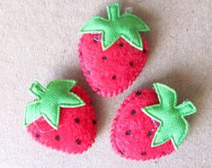 6 red felt padded strawberry applique sew on or glue on