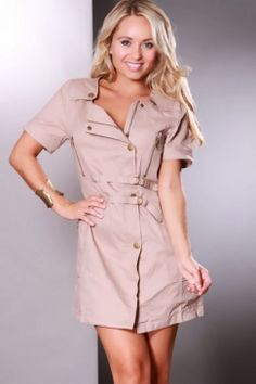 Taupe Double Strapped Waist Button Up Collared Dress