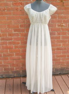 Vintage Ivory Nylon Full Length Barbizon Nightie by Fancy Dress, Dress Up, Silk Floral Dress, Dressed To Kill, Lace Bodice, Pleated Skirt, Night Gown, Fashion Dresses, White Dress