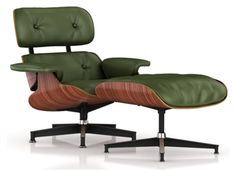 The Eames Lounge and Ottoman in Olive leather. It's classic and in this amazing color, reminds me of an old British racing car.