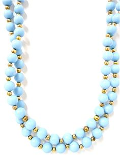 Vintage Pastel Blue Bead Flapper Necklace Long Gold Jewelry - EA156. $5.00, via Etsy.