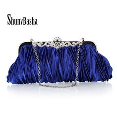 2016 Fashion Women's Clutches Bag With Shoulder Chain For Wedding Prom Party Luxury Brand Evening Bags Satin