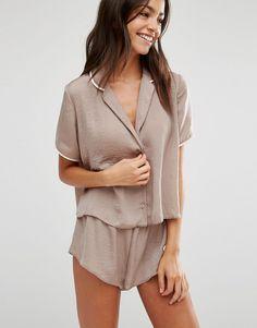 Image 1 of ASOS Miley Satin Piped Pajama Top & Short Set