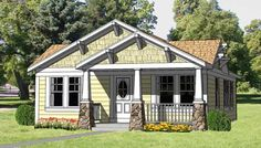 Bungalow Style House Plan ID: chp-27990. 3Bed, 2Bath. Total living area 1064 sq. ft. Basement option. House dimensions 38' D by 28' W.