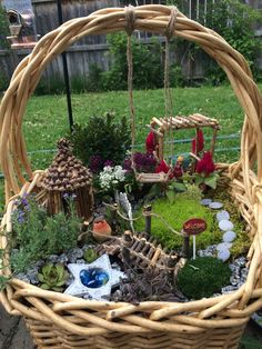 Wicker basket fairy garden