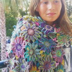 It's finished an other new flower scarf.... #crochetflowers #crochet #noroyarn #Noro #scarf #crochetscarf by attysloveforcrochet