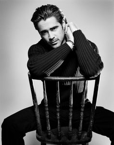 Simplified- Colin Farrell in black cable-knit