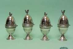 Charming Set of 4 Sterling Silver Filigree Rooster Hen Egg Cups
