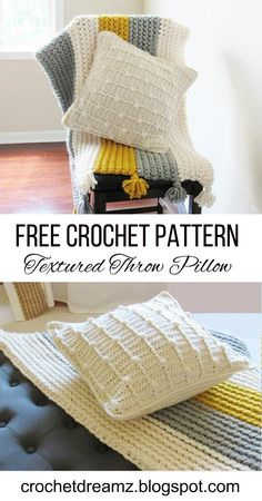 A Crochet Textured Throw Pillow Pattern that will be perfect for your modern home. Texture is the new trend in home decor 2018. So be sure to try the pattern.