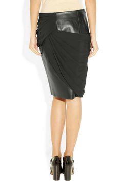 Alexander Wang Leather and crepe skirt  £812.50