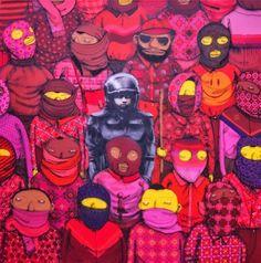 Banksy x Os Gemeos - a beautiful collaboration between two major street artists. (Policia no meio dos bandidos)