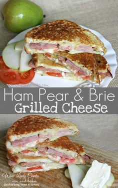 Ham Pear Brie Grilled Cheese Sandwich made with leftover holiday ham, lunch or light dinner. Click thru for easy recipe.