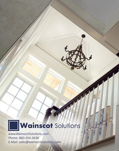 We love this photo! Wainscoting really did this staircase justice! Visit our website at: http://www.wainscotsolutions.com/