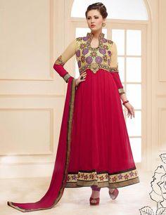 Georgette Machine Work Dark Pink & Beige Unstitched Long Anarkali Suit - 21175