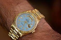 Feeling blue? #luxury #luxurywatch #rolex #gold #diamonds #bling Gold Platinum, Watch Sale, Gold Watch, Illusion, Rolex, Diamonds, White Gold, Rose Gold, Bling