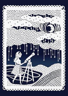 5x7 Papercut Print  Stargazing Night Sky  Girl by SarahTrumbauer, $10.00