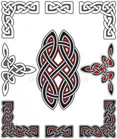 Set of celtic design elements Stock Vector Celtic Tribal, Celtic Art, Leather Tooling Patterns, Leather Pattern, Tattoo Grafik, Caveira Mexicana Tattoo, Symbole Viking, Celtic Symbols, Celtic Knots