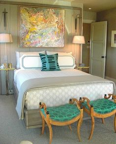 Fab bedroom.  Love the green benches!