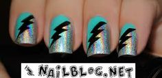 Z… Zzz! Another lightning bolt look. I was so glad to find this plate. I had been looking for lightning images for such a long time. Glam Nails, Bling Nails, Beauty Nails, Lightning Nails, Lightning Bolt, Lightning Images, Fabulous Nails, Perfect Nails, Toe Nail Art