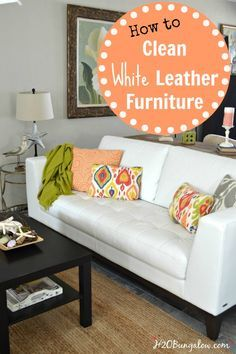 How to easily clean a white leather sofa with household products.  Quick tips for great results-H2OBungalow