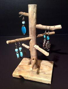 Porte-bijoux bois flotté - présentoir - arbre à bijoux - double ...
