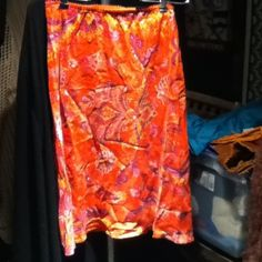 Orange paisley silk skirt Silk skirt worn twice. Excellent condition. Light weight, colorful. NY and Co Skirts