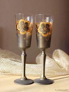 Gold Anniversary glasses Wedding glasses Wine glasses