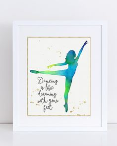 Dancer Silhouette, Watercolor Printable, Blue Green, Dance Poster, Ballerina, Gift for Dancer, Dance Recital, Ballet, Dance Studio Decor by ARTEBEAT on Etsy https://www.etsy.com/listing/287731663/dancer-silhouette-watercolor-printable
