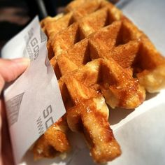 Liège waffles are made from a yeast-based dough containing imported Belgian pearled sugar, which caramelizes throughout the waffle due to its high melting point. This caramelization effect is the secret that gives the waffles unique flavor.