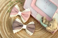 Pink & Light chocolate fabric ribbon with lace by bananaribbon, $6.99