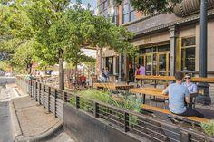 804 Congress - parking spaces transformed into a dynamic patio Landscape Architecture, Landscape Design, Urban Park, Parking Space, Built Environment, Urban Planning, Interactive Design, Plaza, Urban Design