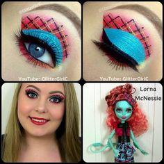Monster high~Lorna McNessie eye makeup Made by~glittergirlc Makeup Salon, Glam Makeup, Diy Makeup, Makeup Art, Makeup Ideas, Makeup Tutorials, Makeup Inspo, Monster High Birthday, Monster High Party