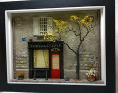 Dollhouse, 1/35 Miniature Model Store Front Diorama, Sculpture Wall Art