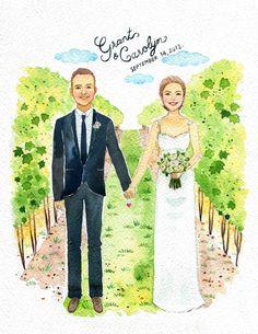 Custom Portraits, Save The Date,11x14 inch.custom couple portrait ,custom couple illustration, custom wedding portrait, Memorial portrait