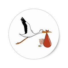 Happy Stork Baby Classic Round Sticker @zazzle #junkydotcom June 8 2016 2x