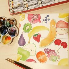 Getting ready to #paint a blue background on my #fruit #watercolor design!