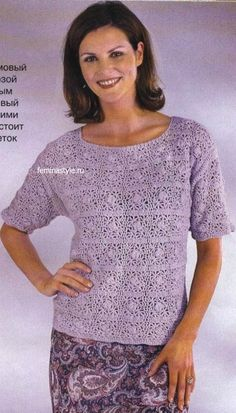 "LILAC SWEATER WITH A PATTERN OF ""SHELLS"" CROCHET"