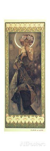 The Moon and the Stars: The Moon, 1902 Giclée-Druck von Alphonse Marie Mucha bei AllPosters.de