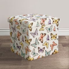 Flutter Butterfly Fabric Covered Collapsible Ottoman